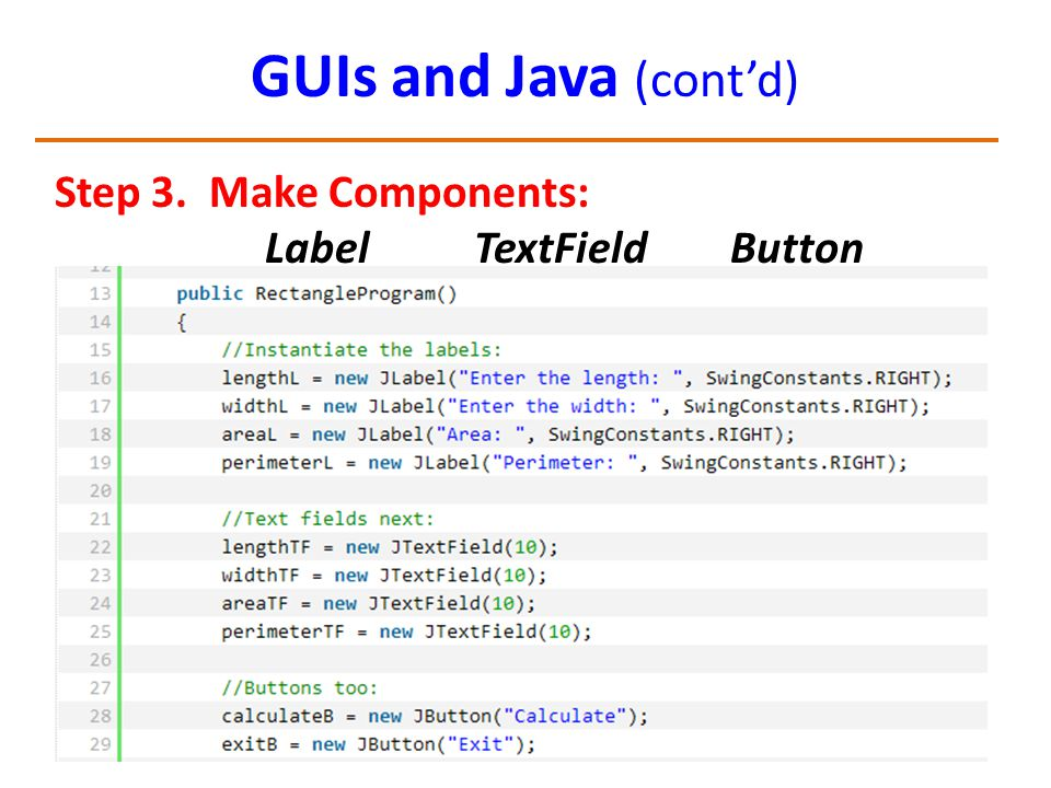 GUIs and Java (cont'd) Step 3. Make Components: Label TextField Button