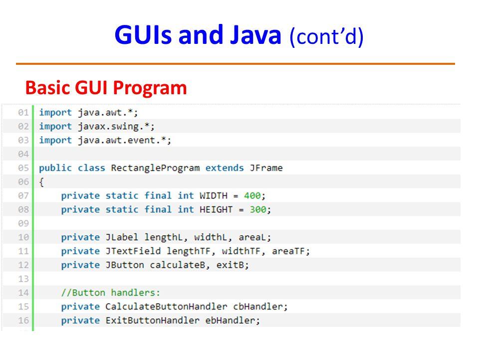 GUIs and Java (cont'd) Basic GUI Program