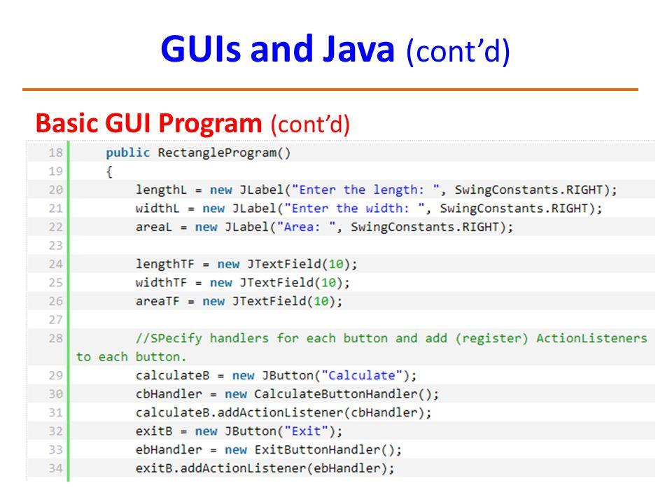 GUIs and Java (cont'd) Basic GUI Program (cont'd)