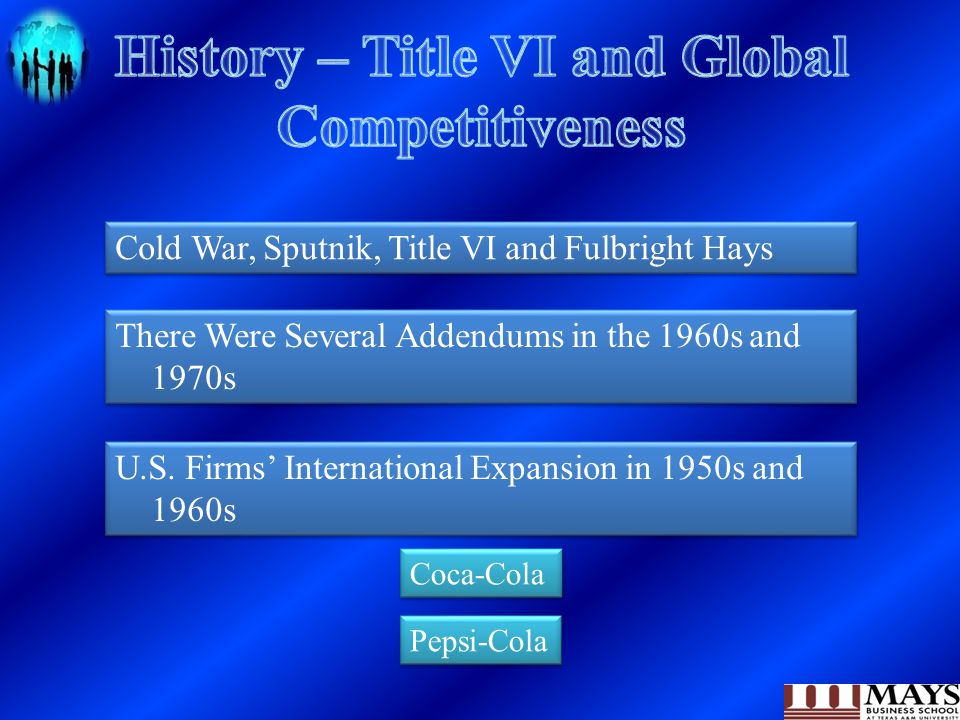 Cold War, Sputnik, Title VI and Fulbright Hays There Were Several Addendums in the 1960s and 1970s U.S. Firms' International Expansion in 1950s and 19