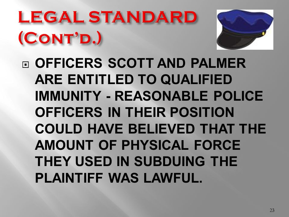  OFFICERS SCOTT AND PALMER ARE ENTITLED TO QUALIFIED IMMUNITY - REASONABLE POLICE OFFICERS IN THEIR POSITION COULD HAVE BELIEVED THAT THE AMOUNT OF PHYSICAL FORCE THEY USED IN SUBDUING THE PLAINTIFF WAS LAWFUL.