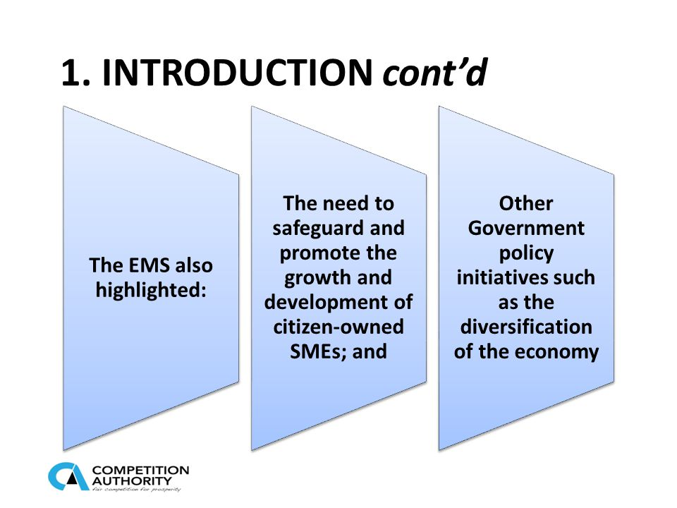 1. INTRODUCTION cont'd The EMS also highlighted: The need to safeguard and promote the growth and development of citizen-owned SMEs; and Other Governm