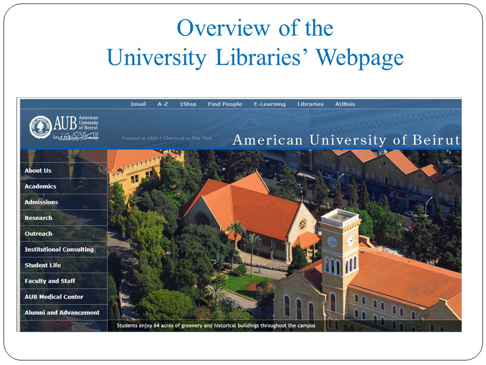 Overview of the University Libraries' Webpage