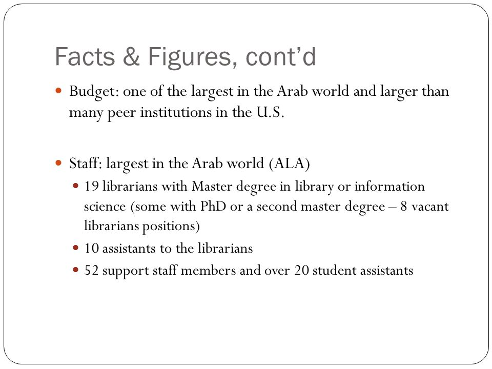 Facts & Figures, cont'd Budget: one of the largest in the Arab world and larger than many peer institutions in the U.S.