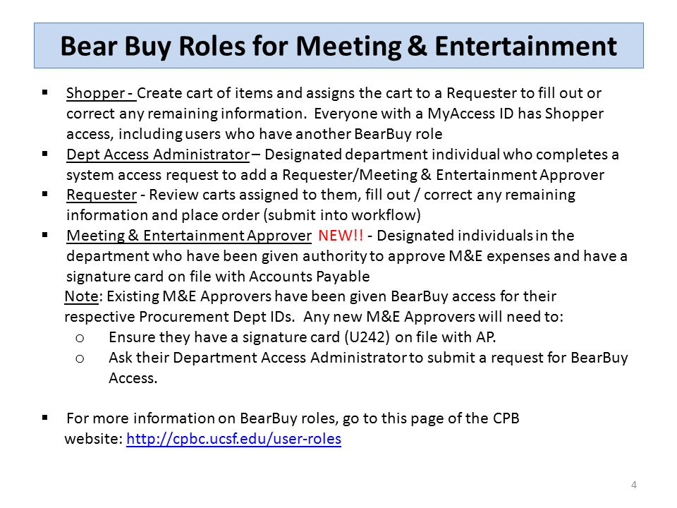 Bear Buy Roles for Meeting & Entertainment 4  Shopper - Create cart of items and assigns the cart to a Requester to fill out or correct any remaining