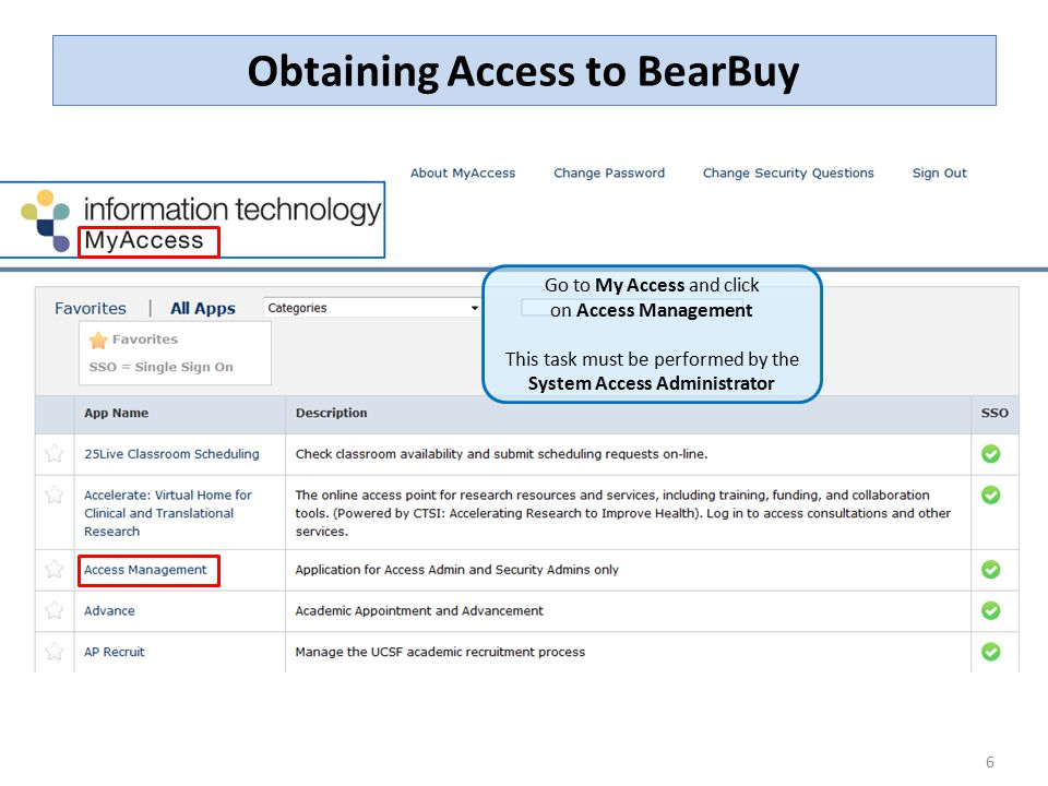 6 Obtaining Access to BearBuy Go to My Access and click on Access Management This task must be performed by the System Access Administrator