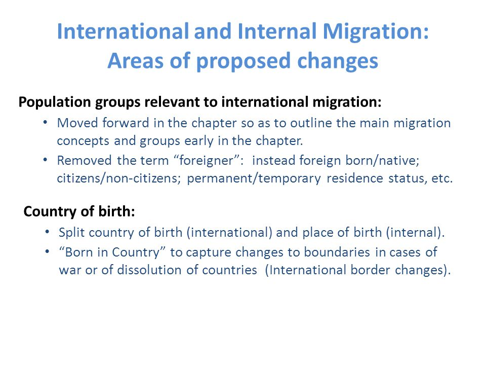 International and Internal Migration: Areas of proposed changes Population groups relevant to international migration: Moved forward in the chapter so as to outline the main migration concepts and groups early in the chapter.