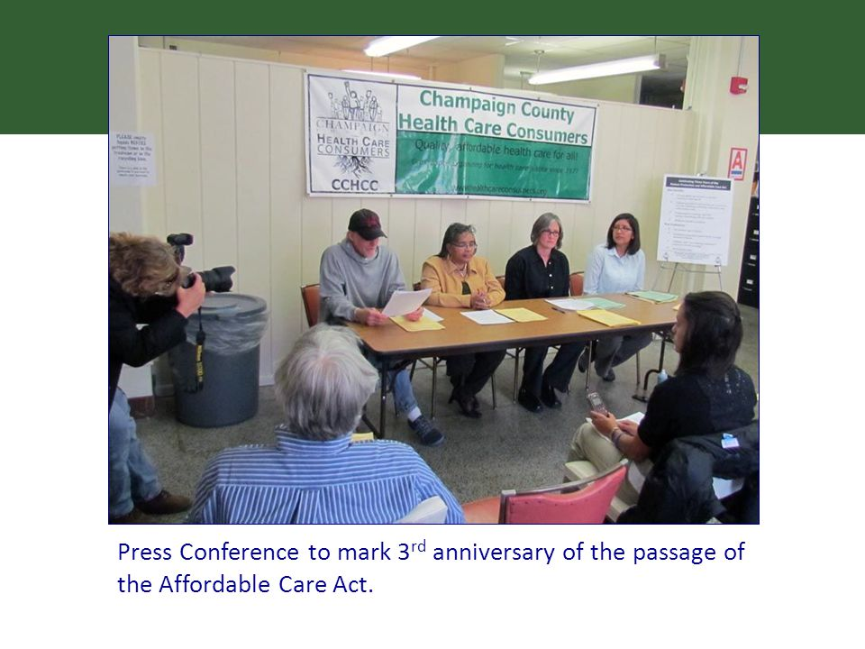 Press Conference to mark 3 rd anniversary of the passage of the Affordable Care Act.