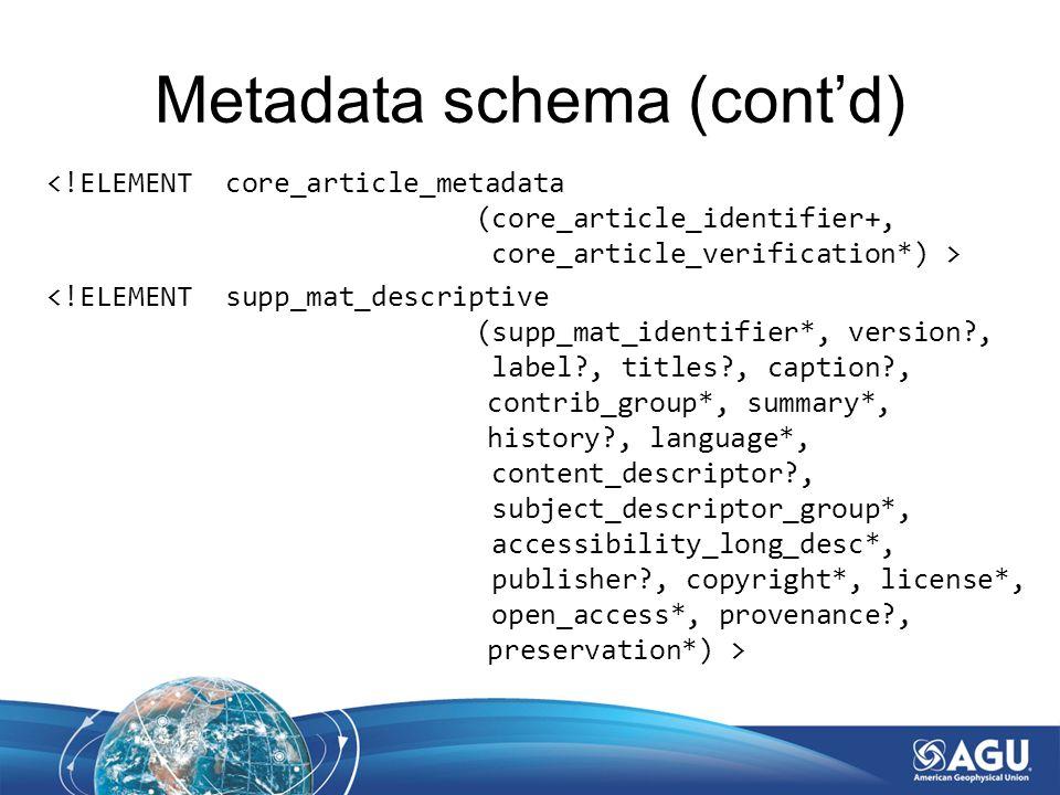 Metadata schema (cont'd)