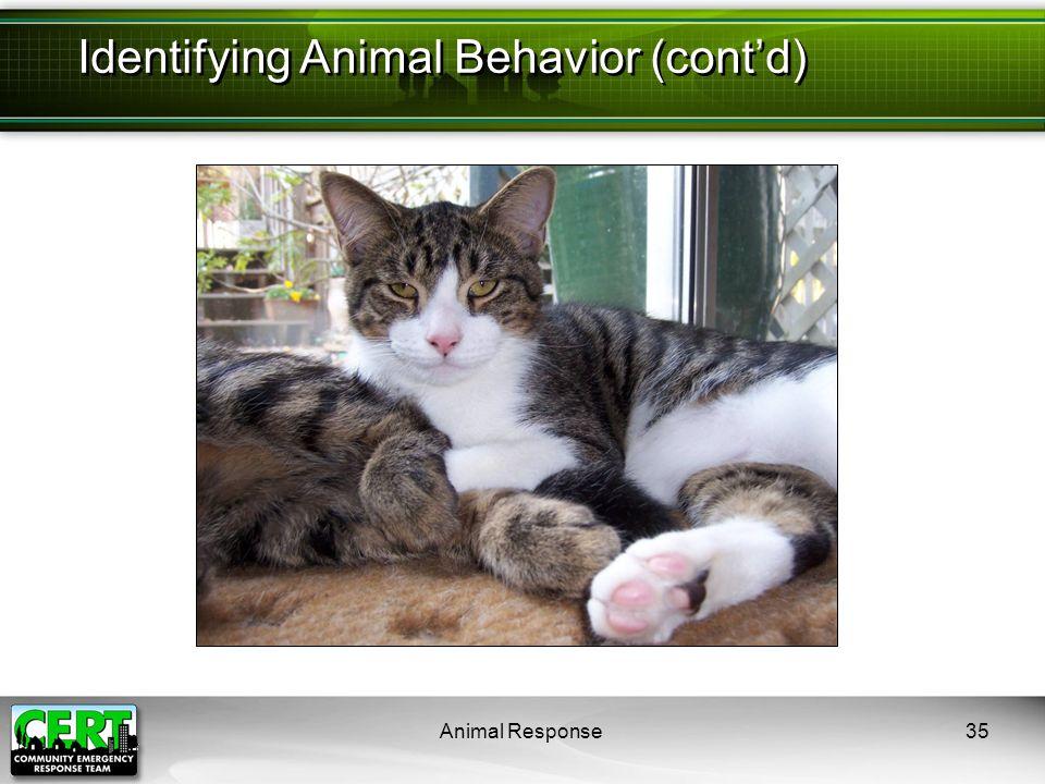 Animal Response35 Identifying Animal Behavior (cont'd)