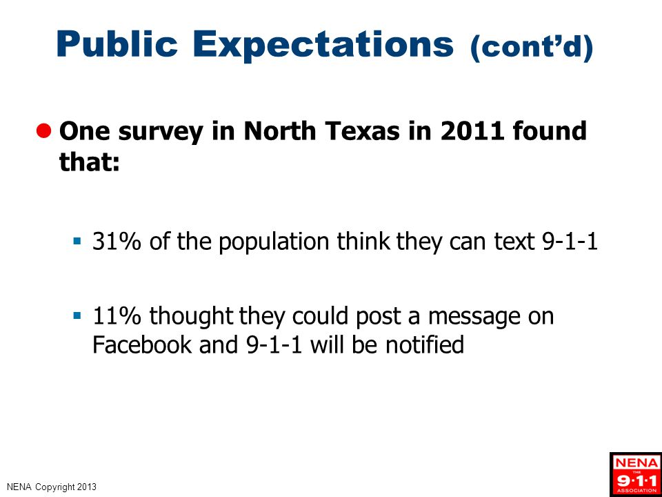 NENA Copyright 2013 Public Expectations (cont'd) One survey in North Texas in 2011 found that:  31% of the population think they can text 9-1-1  11% thought they could post a message on Facebook and 9-1-1 will be notified