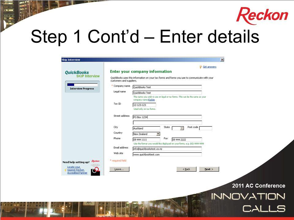 Step 1 Cont'd – Chose Business type