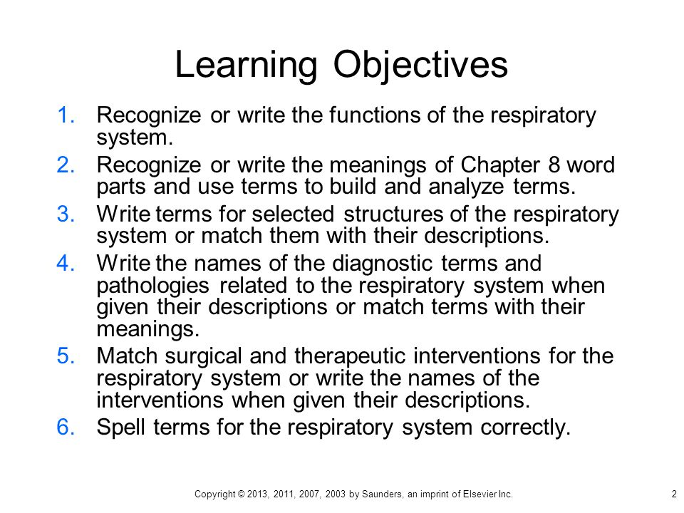 Learning Objectives 1.Recognize or write the functions of the respiratory system.