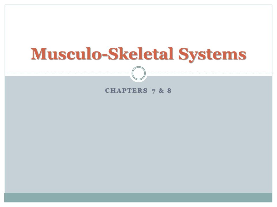 CHAPTERS 7 & 8 Musculo-Skeletal Systems