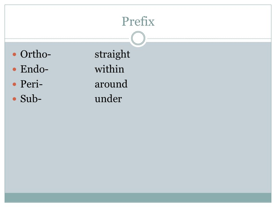 Prefix Ortho-straight Endo-within Peri-around Sub-under