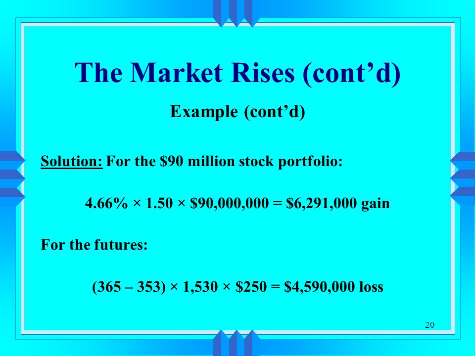20 The Market Rises (cont'd) Example (cont'd) Solution: For the $90 million stock portfolio: 4.66% × 1.50 × $90,000,000 = $6,291,000 gain For the futures: (365 – 353) × 1,530 × $250 = $4,590,000 loss