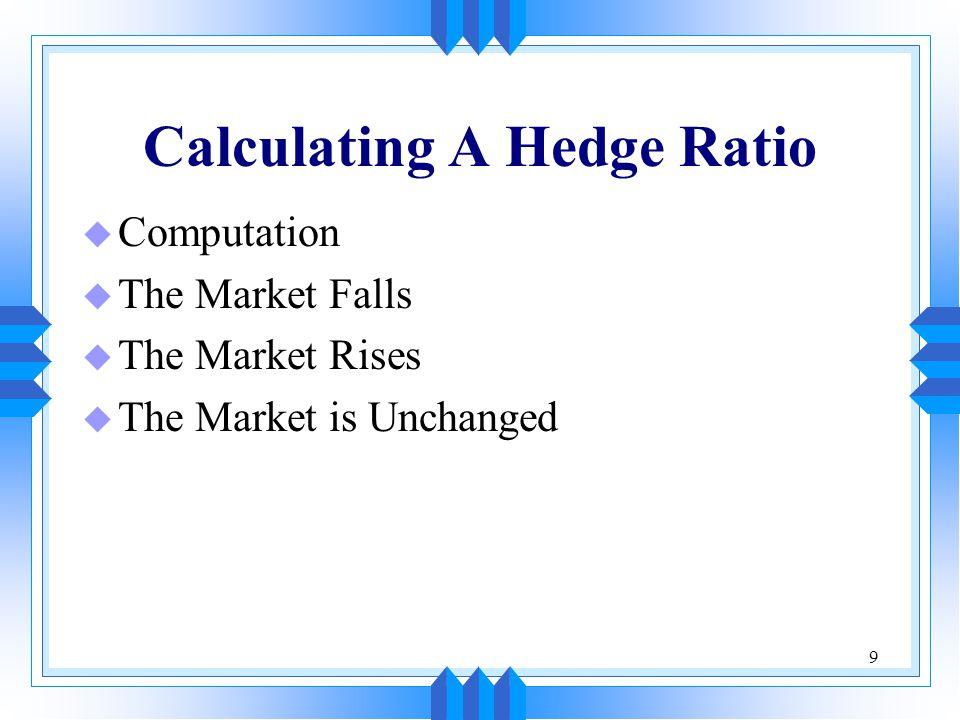 9 Calculating A Hedge Ratio u Computation u The Market Falls u The Market Rises u The Market is Unchanged