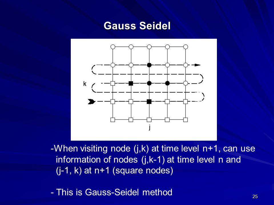 25 Gauss Seidel -When visiting node (j,k) at time level n+1, can use information of nodes (j,k-1) at time level n and (j-1, k) at n+1 (square nodes) - This is Gauss-Seidel method