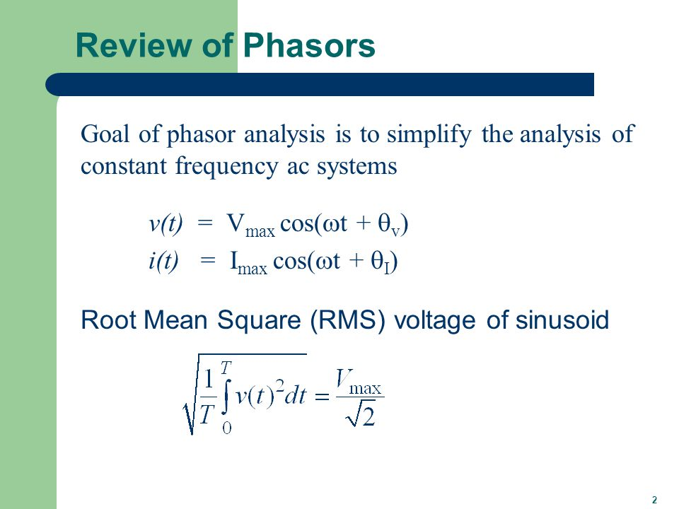 3 Phasor Representation
