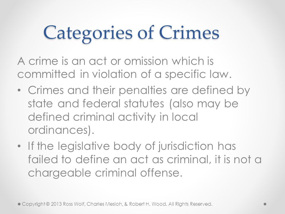 A crime is an act or omission which is committed in violation of a specific law. Crimes and their penalties are defined by state and federal statutes