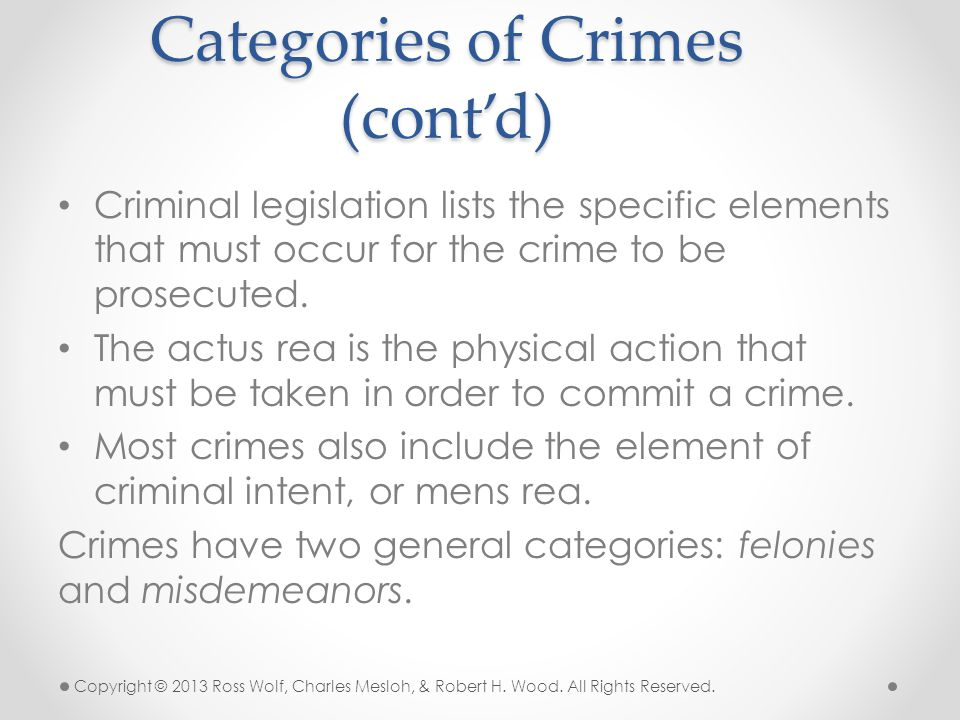 Criminal legislation lists the specific elements that must occur for the crime to be prosecuted. The actus rea is the physical action that must be tak