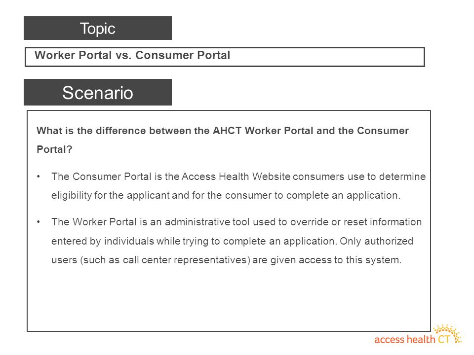 What is the difference between the AHCT Worker Portal and the Consumer Portal.