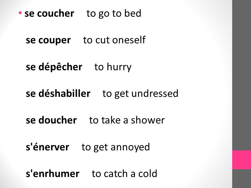 se coucher to go to bed se couper to cut oneself se dépêcher to hurry se déshabiller to get undressed se doucher to take a shower s énerver to get annoyed s enrhumer to catch a cold