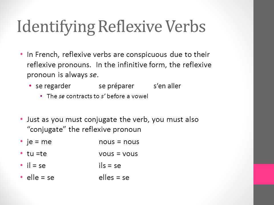 Identifying Reflexive Verbs In French, reflexive verbs are conspicuous due to their reflexive pronouns.