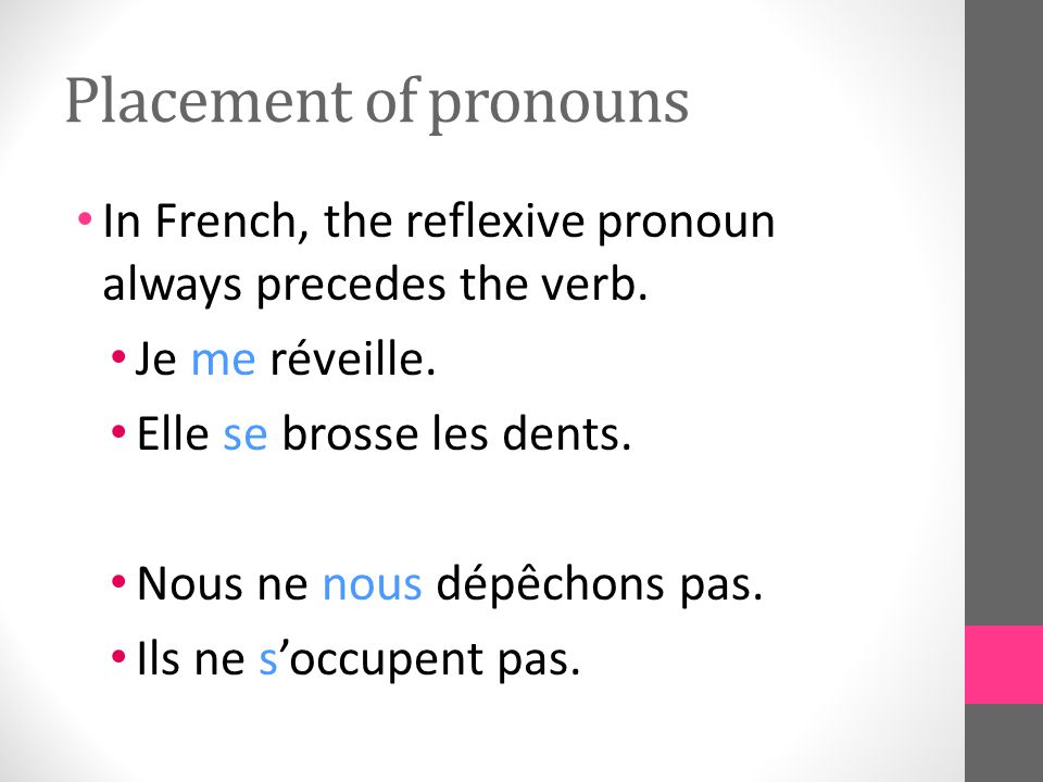 Placement of pronouns In French, the reflexive pronoun always precedes the verb.