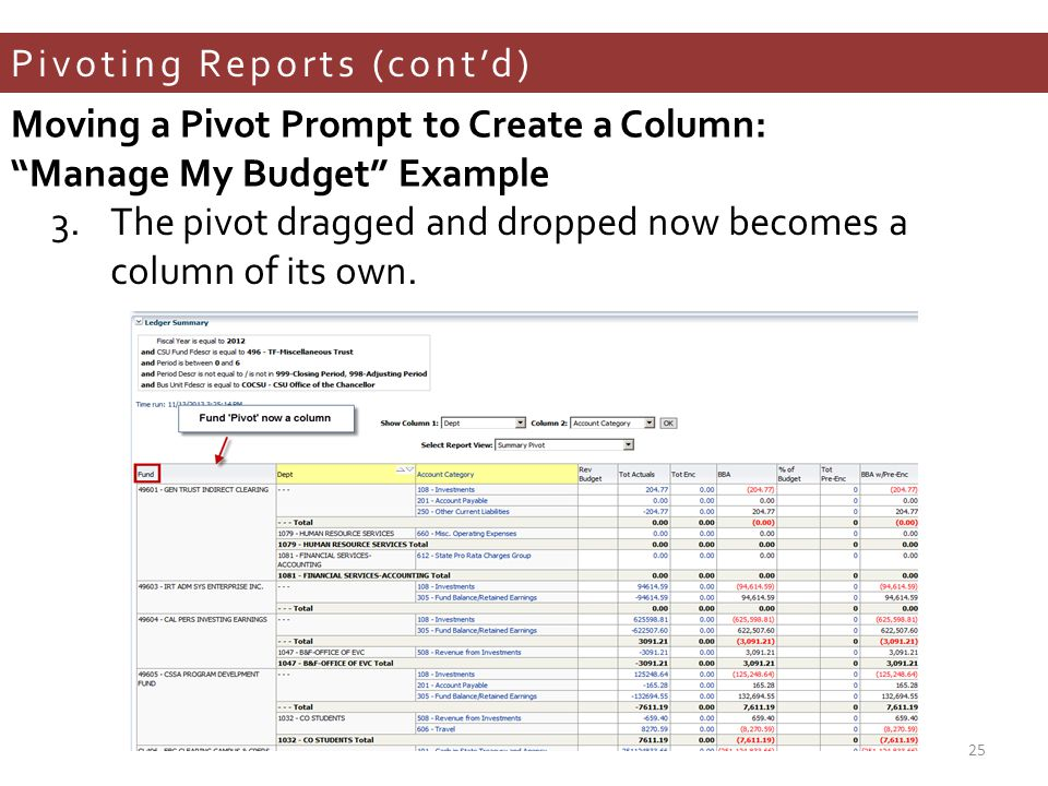 Pivoting Reports (cont'd) 3.The pivot dragged and dropped now becomes a column of its own.