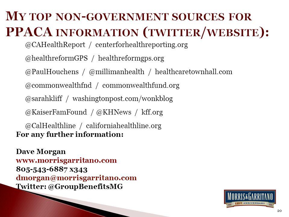 @CAHealthReport / centerforhealthreporting.org @healthreformGPS / healthreformgps.org @PaulHouchens / @millimanhealth / healthcaretownhall.com @commonwealthfnd / commonwealthfund.org @sarahkliff / washingtonpost.com/wonkblog @KaiserFamFound / @KHNews / kff.org @CalHealthline / californiahealthline.org For any further information: Dave Morgan www.morrisgarritano.com 805-543-6887 x343 dmorgan@morrisgarritano.com Twitter: @GroupBenefitsMG 20