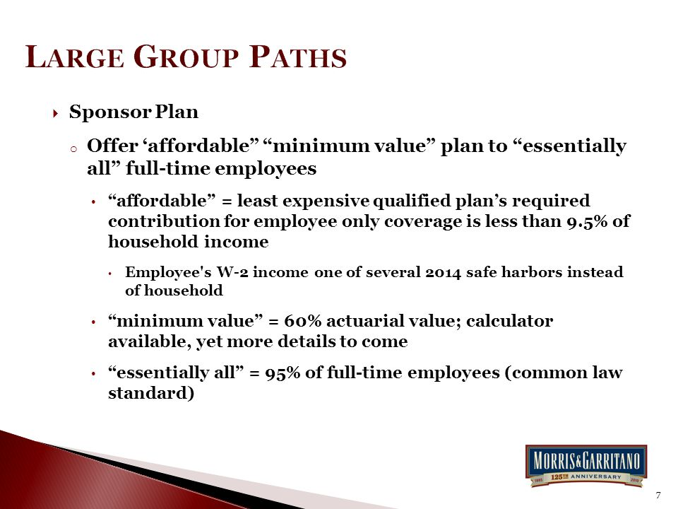 " Sponsor Plan o Offer 'affordable"" ""minimum value"" plan to ""essentially all"" full-time employees ""affordable"" = least expensive qualified plan's requ"