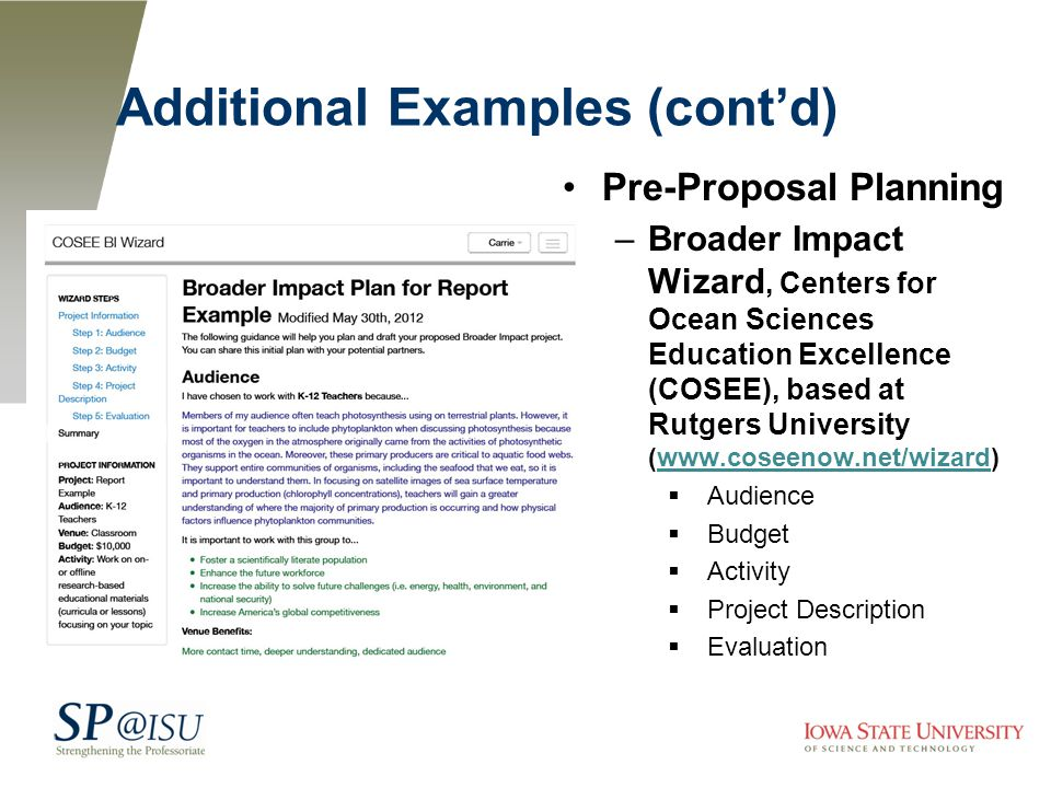 Additional Examples (cont'd) Pre-Proposal Planning –Broader Impact Wizard, Centers for Ocean Sciences Education Excellence (COSEE), based at Rutgers University (www.coseenow.net/wizard)www.coseenow.net/wizard  Audience  Budget  Activity  Project Description  Evaluation