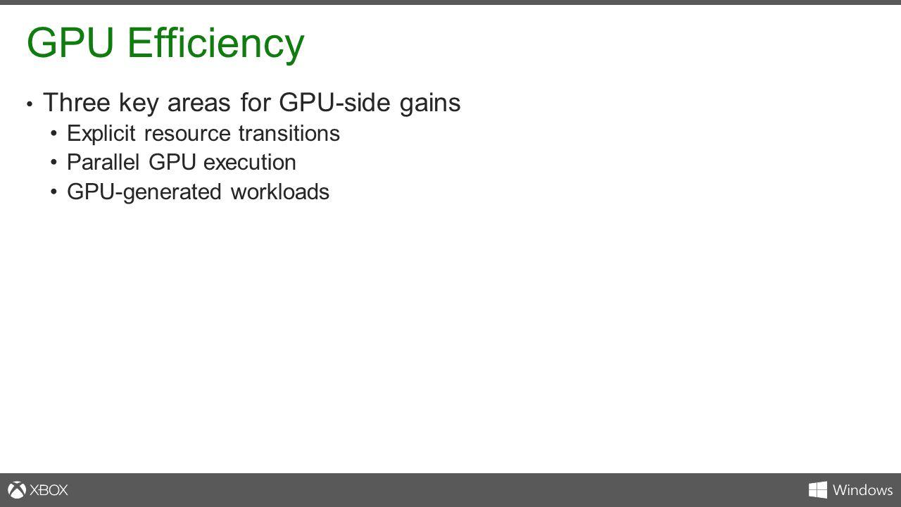 GPU Efficiency Three key areas for GPU-side gains Explicit resource transitions Parallel GPU execution GPU-generated workloads