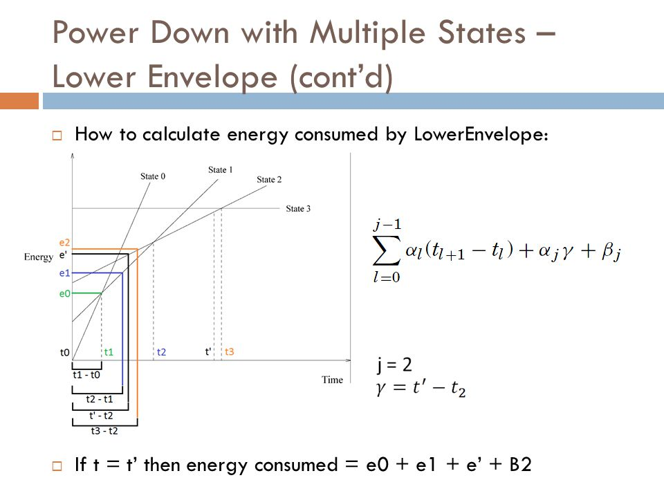Power Down with Multiple States – Lower Envelope (cont'd)  How to calculate energy consumed by LowerEnvelope:  If t = t' then energy consumed = e0 +