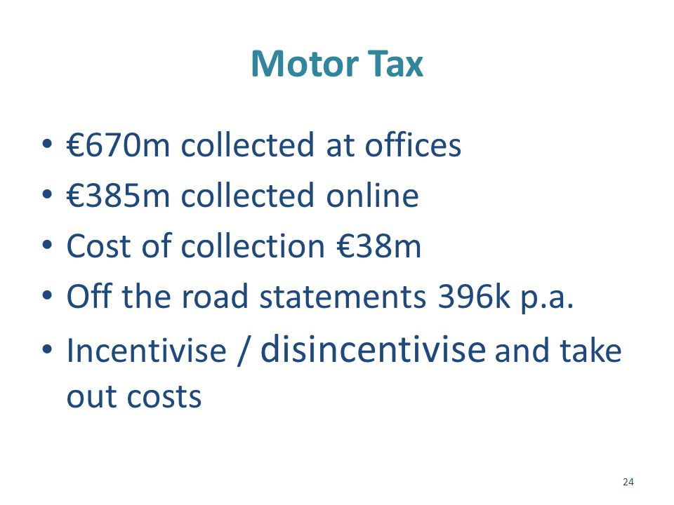 Motor Tax Cont'd Counter Cork 36% Donegal 80% Postal Donegal 4% Wexford 26% Online Donegal 15% Dublin 44% 25