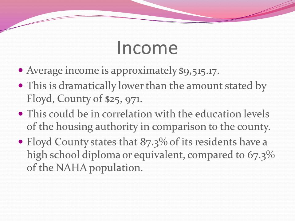 Income Average income is approximately $9,515.17. This is dramatically lower than the amount stated by Floyd, County of $25, 971. This could be in cor