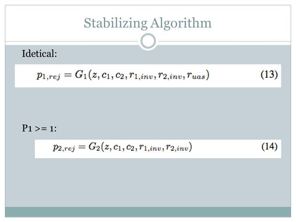 Stabilizing Algorithm Idetical: P1 >= 1:
