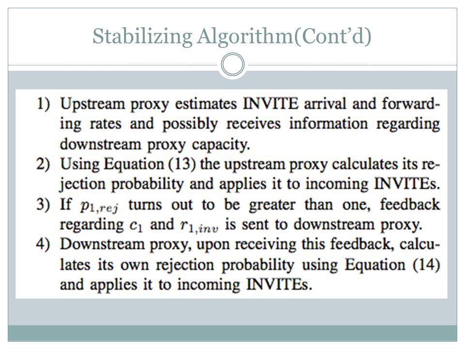 Stabilizing Algorithm(Cont'd)