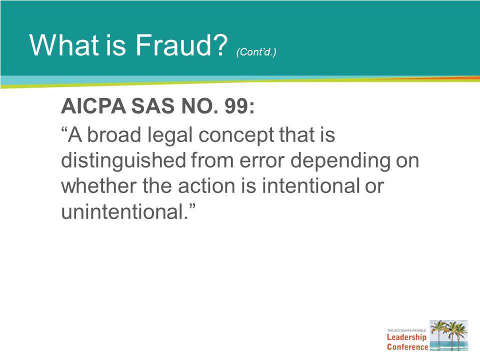 What is Fraud. (Cont'd.) AICPA SAS NO.