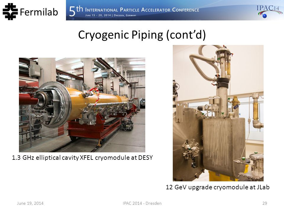 Fermilab Cryogenic Piping (cont'd) June 19, 2014IPAC 2014 - Dresden29 1.3 GHz elliptical cavity XFEL cryomodule at DESY 12 GeV upgrade cryomodule at J