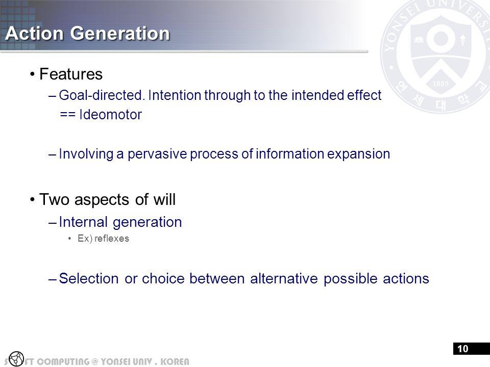 S FT COMPUTING @ YONSEI UNIV.KOREA 16 Action Generation Features –Goal-directed.