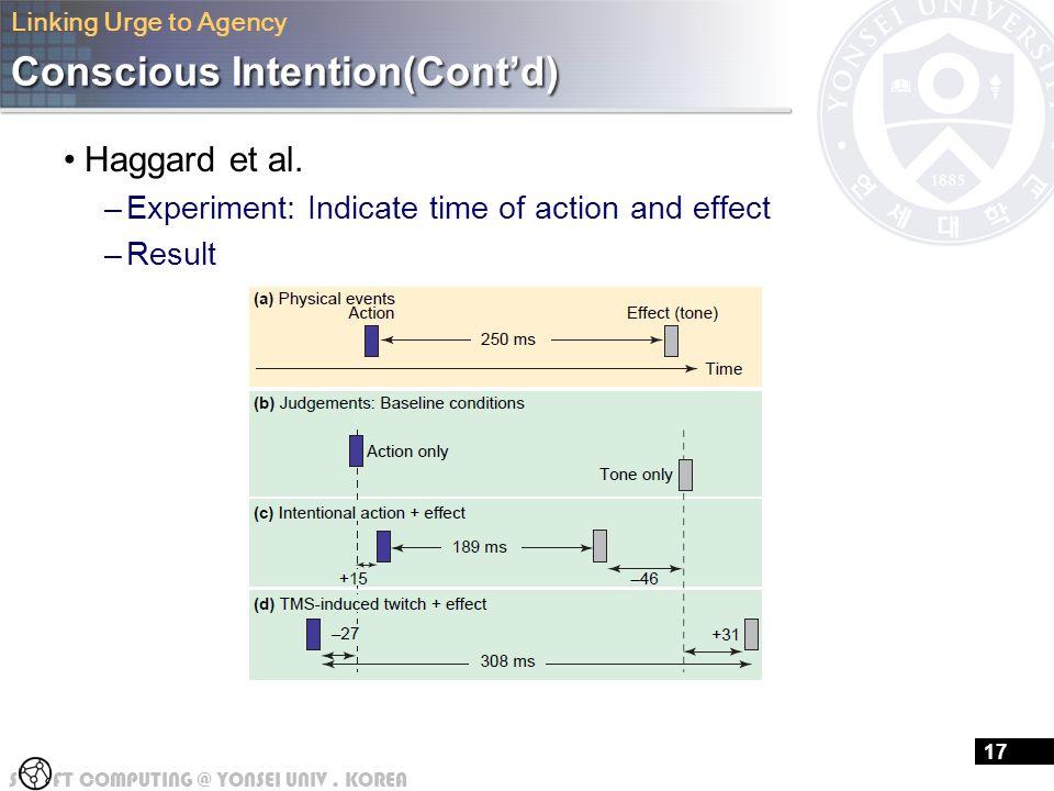 S FT COMPUTING @ YONSEI UNIV.KOREA 16 Conscious Intention(Cont'd) Haggard et al.