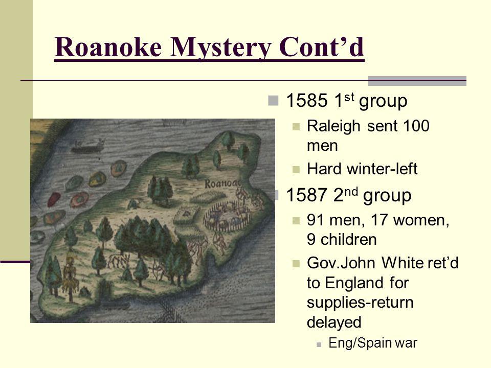Roanoke Mystery Cont'd 1585 1 st group Raleigh sent 100 men Hard winter-left 1587 2 nd group 91 men, 17 women, 9 children Gov.John White ret'd to Engl