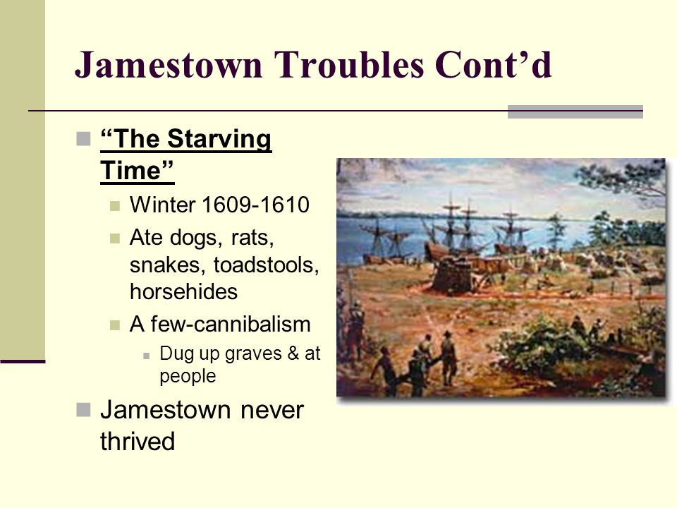 """Jamestown Troubles Cont'd """"The Starving Time"""" Winter 1609-1610 Ate dogs, rats, snakes, toadstools, horsehides A few-cannibalism Dug up graves & at peo"""