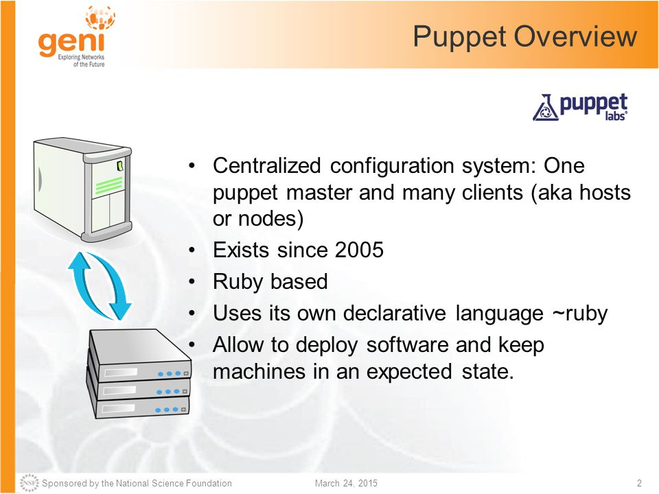 Sponsored by the National Science Foundation3March 24, 2015 Puppet Vocabulary See http://docs.puppetlabs.com/references/glossary.html Class –A collection of related resources, which, once defined, can be declared as a single unit.