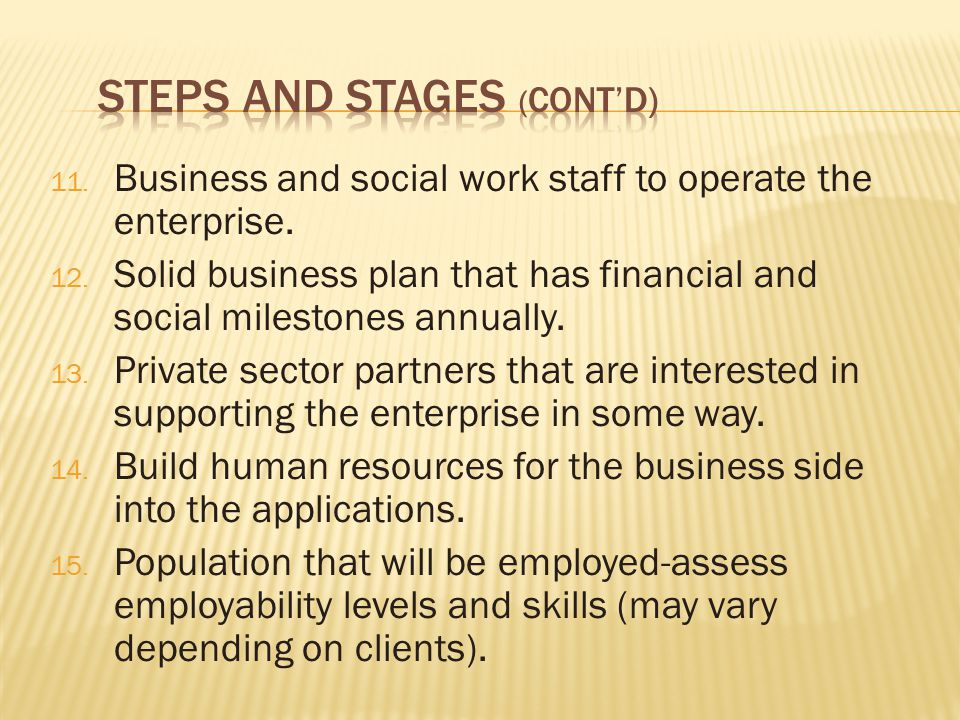 11. Business and social work staff to operate the enterprise.