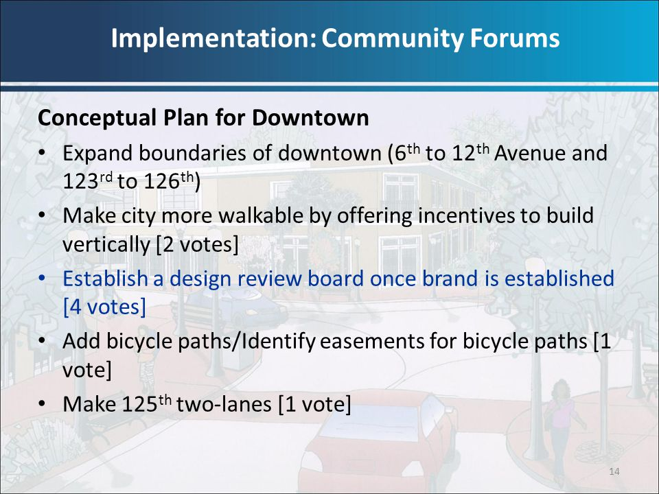 14 Conceptual Plan for Downtown Expand boundaries of downtown (6 th to 12 th Avenue and 123 rd to 126 th ) Make city more walkable by offering incenti