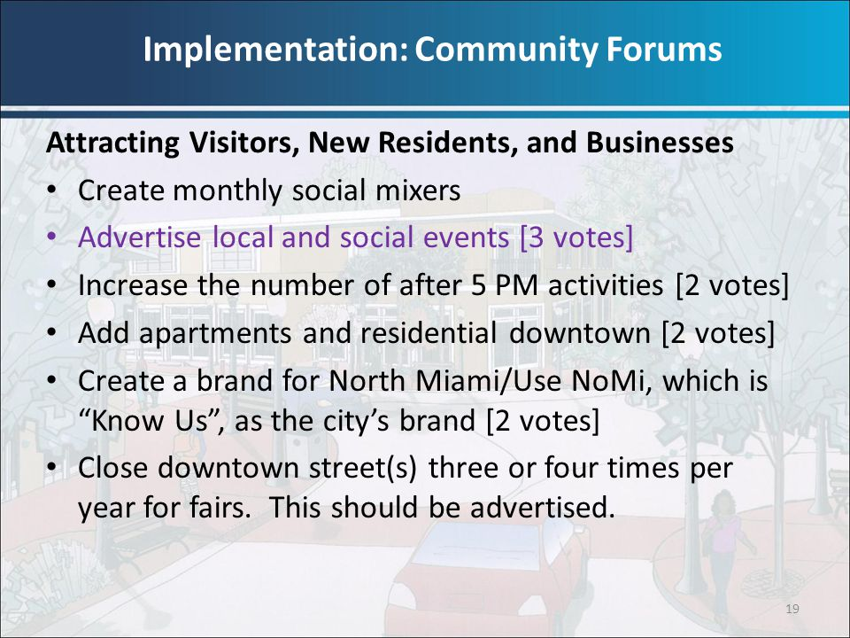 19 Attracting Visitors, New Residents, and Businesses Create monthly social mixers Advertise local and social events [3 votes] Increase the number of