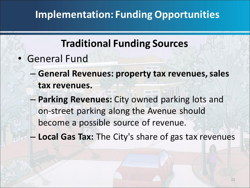 22 General Fund – General Revenues: property tax revenues, sales tax revenues. – Parking Revenues: City owned parking lots and on-street parking along